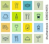 set of 16 food icons. includes... | Shutterstock .eps vector #608024051