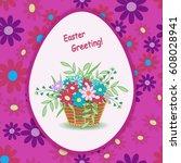greeting easter card design of... | Shutterstock . vector #608028941
