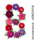floral alphabet isolated on...