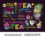 cupcakes and macaroons.hand... | Shutterstock .eps vector #608031095