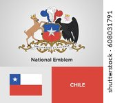 chile national emblem and flag  | Shutterstock .eps vector #608031791