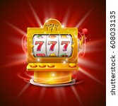 golden slot machine wins the... | Shutterstock .eps vector #608033135