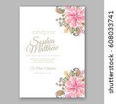 wedding invitation floral... | Shutterstock .eps vector #608033741