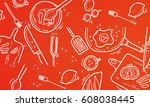 set of food icons vector... | Shutterstock .eps vector #608038445