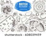 british cuisine top view frame. ... | Shutterstock .eps vector #608039459