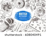 british cuisine top view frame. ... | Shutterstock .eps vector #608040491