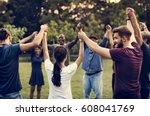 group of people holding hand... | Shutterstock . vector #608041769