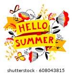 summer floral banner. enjoy... | Shutterstock .eps vector #608043815