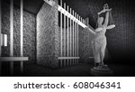 prison bars and lady of justice ... | Shutterstock . vector #608046341