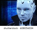 Face Of A Cyborg With Blue Eyes....