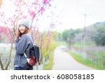 happy woman traveler relax feel ... | Shutterstock . vector #608058185