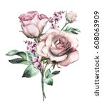Stock photo watercolor flowers floral illustration flower in pastel colors pink rose branch of flowers 608063909