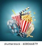 popcorn  cinema reel ... | Shutterstock . vector #608066879