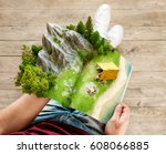 mountain in forest  green... | Shutterstock . vector #608066885