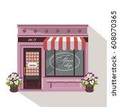 illustration of a flowers shop. ...   Shutterstock .eps vector #608070365