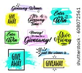 giveaway handwritten in black... | Shutterstock .eps vector #608072561