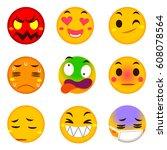 vector set of funny emoji... | Shutterstock .eps vector #608078564