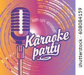vector banner with microphone ... | Shutterstock .eps vector #608084159