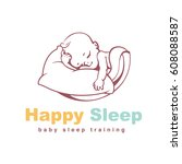 baby logo template. sleeping... | Shutterstock .eps vector #608088587