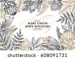 floral wedding invitation.... | Shutterstock .eps vector #608091731