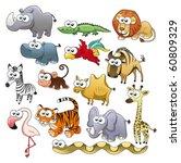 savannah animal family. funny... | Shutterstock .eps vector #60809329