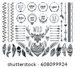 hand drawn boho design elements ... | Shutterstock .eps vector #608099924
