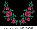 red roses embroidery with... | Shutterstock .eps vector #608106581