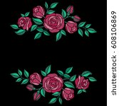 red roses embroidery with... | Shutterstock .eps vector #608106869