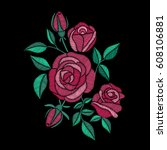 roses embroidery on black... | Shutterstock .eps vector #608106881