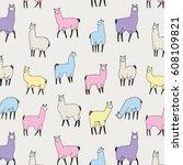 lama animal vector pattern | Shutterstock .eps vector #608109821