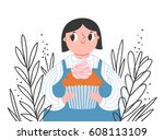 girl with a cupcake  vector... | Shutterstock .eps vector #608113109