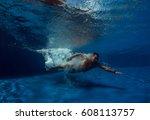 portrait of a male swimmer ... | Shutterstock . vector #608113757