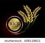golden design logo grain... | Shutterstock .eps vector #608118821