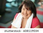portrait of cheerful overweight ... | Shutterstock . vector #608119034