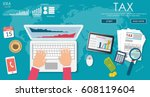 state taxes. tax payment.... | Shutterstock .eps vector #608119604