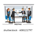 businesss and office concept  ... | Shutterstock .eps vector #608121797