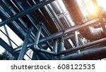 steel pipelines in a industrial ... | Shutterstock . vector #608122535