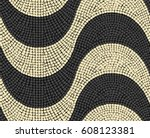 lisbon pavement waves handmade... | Shutterstock .eps vector #608123381