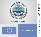 micronesia national emblem and... | Shutterstock .eps vector #608125121