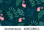 seamless pattern with flamingo  ... | Shutterstock .eps vector #608128811