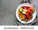 various grilled vegetables in a ... | Shutterstock . vector #608141141