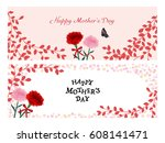 mother's day vintage greeting... | Shutterstock .eps vector #608141471