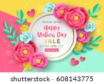 mothers day sale banner... | Shutterstock .eps vector #608143775