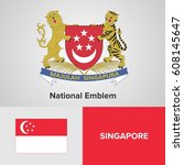 singapore national emblem and... | Shutterstock .eps vector #608145647