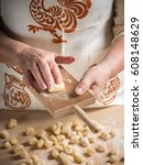 step by step gnocchi making... | Shutterstock . vector #608148629