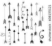 hand drawn boho design arrows... | Shutterstock .eps vector #608155121