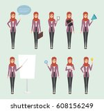 business arab woman in job at... | Shutterstock .eps vector #608156249