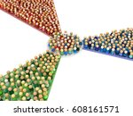 crowd of small symbolic figures ... | Shutterstock . vector #608161571