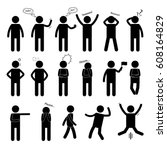 stick figure of a man. set of... | Shutterstock .eps vector #608164829