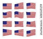 set of america flag  vector... | Shutterstock .eps vector #608165159